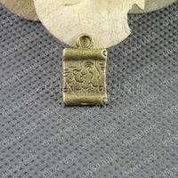 antiqued paper - DIY Antiqued Bronze Vintage Alloy Words Square Paper Pendant Charms Handmade Accessories mm
