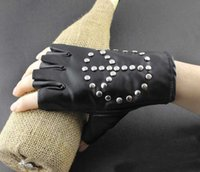 fingerless gloves - Girl Punk Driving Motorcycle Peaceful symbol Real Leather Fingerless Gloves