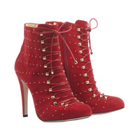 cowboy boots for women - Burgundy Ankle Boots For Women High Heels Shoes Lace Up Rivet Sheepskin cm Heel Suede Boot New Arrival Sexy Ladies Cowboy Boots for Women