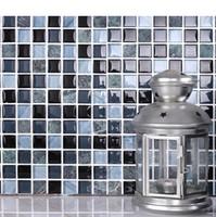 Wholesale Blue color Mediterranean glass mosaic tiles wall mounted mesh stone mosaic pattern crystal glass mosaics