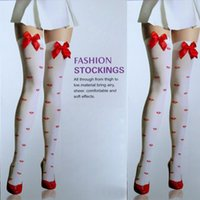 Wholesale Girls Red Lip Ribbon Print Lace Stockings Top Thigh High Ultra Sheer Stockings for Women