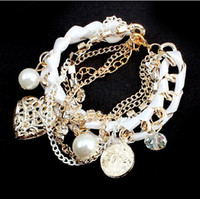 Wholesale Lovely multilayer Coin bracelet Fashion shollow out heart coin pearl weave multilayer brangle bracelet jewelry women s bracelets bangles