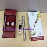 Wholesale 100sets NEW Stainless Steel Wine Cooling stick Corkcicle White Red Wine Chiller Replace the Ice Bucket