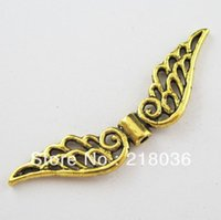 bali charms - Fashion Antiqued Gold Tone Hollow Wings Bali Style Spacer Beads Charms x53mm B766 DIY Metal Jewelry