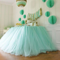 Wholesale 2015 New Tulle Table Skirt Tutu Table Decorations for Wedding Imitation Pearls Birthday Baby Bridal Showers Party Tutu Party Decor