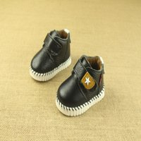 baby high top walking shoes - Unisex Boys Girls High top Shoes Toddler Leather Shoes With Star And Soft Sole Baby Walking Sneakers KS81205