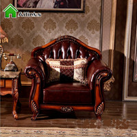 antique leather sofas - New Italian Creative Luxury Design Living Room Sofa Ornate Back and Fringes Design Noble Button leahter Sofa couch