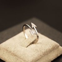 arrow box packaging - Real Sterling Silver Engagement Rings For Women Arrow Pattern Adjustable Size Promise Ring Fine Jewelry With Box Package