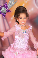 Wholesale Hot Sale Handmade Flower Pink Little Girls Pageant Dresses With Crystal Bead Sequins Sheer Long Sleeve Short Cute Flower Girl Dress Present