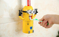 Wholesale 50 sets In Stock Cute Despicable Me Minions Design Set Cartoon Toothbrush Holder Automatic Toothpaste Dispenser with Brush Cup
