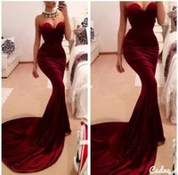 Cheap Sexy Designer Mermaid Burgundy Satin Prom Tight Party Dresses Sweetheart Court Train China High Quality Special Occasion Dresses Cheap 2015