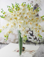 Wholesale 10p Fake Orchid Flowers Phalaenopsis Medium Size Orchids Artificial Simulation Orchid Colors Fake Flowers for Wedding Floral Decoraitons