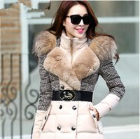 Wholesale New Hot warm fashion long slim thick women winter jacket houndstooth patchwork luxury raccoon fur hood down coat SD115