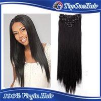 La pinza de pelo remy virginal peruana del 100% en el sistema completo de la cabeza de las extensiones 7pcs del pelo humano, color natural de 100g 19clips libera el envío
