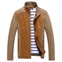 fashion leather jacket - 2015 New Arrival Fashion Leather Jacket Meh Stand Collar Patchwork Men Leather Jacket Plus Size Mens Leather Jackets and Coats
