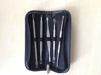 Wholesale Free DHL Stainless Steel Blackhead Blemish Extractor Kit Cosmetic Comedone Acne Treatment With pc Mask