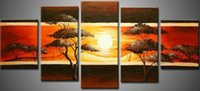 Cheap hand-painted Frameless draw oil wall art Sunrise scenery hill home decoration Landscape canvas oil painting 5pcs a set
