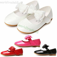 Wholesale 2015 New Flat Heel Sequins Bow tie Kids Girl shoes Fashion Children Girl Wedding Shoes Slip on Children Girls Dress Shoes White