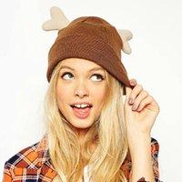 Wholesale Winter Hats Women Sweet Cute Little Antlers Curling Ear Protection Warm Wool Knit Cap