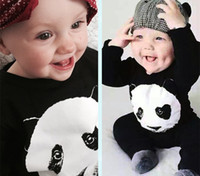 Wholesale 2016 Spring Baby Panda One piece Rompers Infant Boys Long Sleeve Cotton Jumpsuits Kids Black Romper Bodysuits Children Climb Clothing