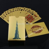 Wholesale Burj Khalifa Dubai design gold foil playing cards sets per with certificates by Fedex or UPS