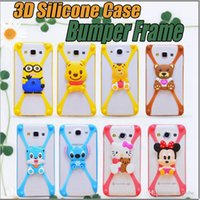 silicone dolls - Universal D Silicone Case Cartoon Character Bumper Frame Mickey Bear Stitch Monster Doll for iPhone S S Plus plus Samsung S6