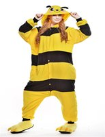 bee wig - Cartoon Animal Bee Adults Onesies Unisex Flannel Jumpsuit Halloween Costume Cosplay Sleepwear kigurumi Pajamas Costume Hoodies Homewear