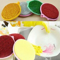 Wholesale 2015 New Arrival Kitchen Products Round sided Sponge Scouring Cotton Dish Pot Scourers Towel Clean Towel round Washing Dish ball