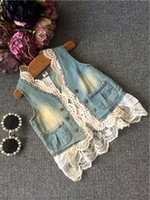 denim waistcoat - 2015 Autumn Kids Girls Wash Blue Denim Lace Waistcoats Baby girl V neck Vests Babies Autumn clothes children s outwear