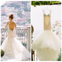 Cheap Spaghetti Strap Tulle Mermaid Wedding Dresses Lace Appliques Tieres Backless Custom Made Wedding Gown 2015 Sweetheart White Berta Bridal