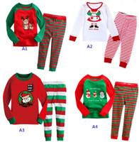 baby at home - Santa Claus cartoon deer baby long sleeved striped pajamas years cotton casual suits at home T shirt leggings set B21