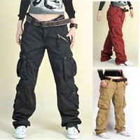 army cargo pants for women - 2015 New Fashion plus size Women s trousers with multi pockets black khaki red hip hop cargo pants army pants for women men
