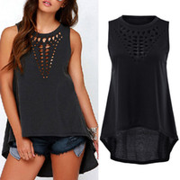Wholesale Hot Sales Women Lady Vest Sleeveless Shirt Blouse Acetate Fiber Summer Hollow Loose Sexy Casual Tops QX182