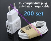 Wholesale White set V ADual USB Wall Charger Adapter EU Plug Power Port Micro USB Data Sync Cable for Samsung