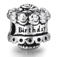 beads for cakes - Happy Birthday Cake Beads European Charms Fit For Sterling Silver Snake Chain Bracelet Fashion DIY Jewelry