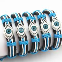 al por mayor pulseras tejidas a mano a la venta-Amuleto mano-tejida caliente MB107 del brazalete de las pulseras del cuero del ojo del mal de Turquía del ojo azul de la venta al por mayor 12PCS de la venta