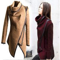 coats - 2015 New Women Fashion Coat Long Zipper Lapel Neck Wool Coats Pockets Irregular Collar Winter Casual Coats Plus Size Colors Overcoat