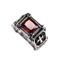 Wholesale 316 STainless steel gemstone red color ring mens rings cheap factory biker vintage jewelry for