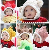 Unisex Winter Crochet Hats 2015 Cute Kids Baby Boy Girl Balls Knitted Beanie Fleece Lining Winter Warm Cap Hat Earmuffs