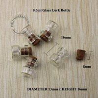 Cheap Wholesale 200pcs 0.5ml D13mm*H16mm Mini Glass Bottle Vials With Wood Cork small wishing perfume display bottle Vintage Glassware