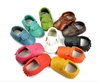 Wholesale Baby moccasins soft sole moccs genuine leather prewalker booties toddlers babies fringe cow leather moccasin shoes moccasin shoe B56