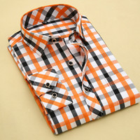 Wholesale Long Sleeve Professional Clothing - Wholesale-2016 Top Plaid Professional Men Dress Shirt Brushed Breathable Long Sleeve Camisas Casual Muscle Fitted Business Clothes S-4XL