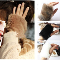 Wholesale 12pair Fashion Women Girls Ladies Rabbit Fur Hand Wrist Warmer Winter Fingerless Gloves