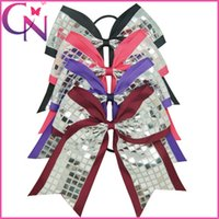 cheer gifts - Hot Sale Inch Big Sequin Cheer Bow Girl Ribbon Cheer Bows With Elastic Handmade Cheerleading Hair Accessories baby party Christmas gifts