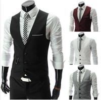 Wholesale 2015 New Fashion Men Slim Vest V Neck Cotton Suits Vests Waistcoat Tank Tops Sleeveless Jacket Coat Colors Plus Size XXL