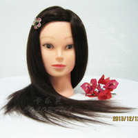 Wholesale 2014 New human hair quot Style Long Hair Hairdressing Training Practice Mannequin Head w Clamp