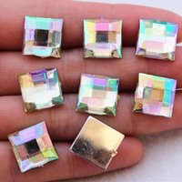 Wholesale 200PCS mm Square Acrylic FlatBack Crystal Beads Rhinestones Gem DIY crafts ZZ90