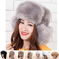 Wholesale Hot Sale Russian Fashion Style Bomber Hat Winter Warm Faux Fur Trapper Headband Snow Ski Women Bomber Beanie Protect Earflap Cap