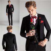 Wholesale Latest Custom Made Romantic One Button Groom Tuxedos Wedding Party Groomsman Suit Boys Suit Jacket Pants Vest Bridegroom Suit EN12185