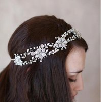 Rhinestone/Crystal beautiful shiny hair - 2016 Best Sale Bridal Hair Band New Shiny Girl s Party Headpieces with Pearls Beautiful Beads Real Image Jewelry Hairbands For Bride CPA458